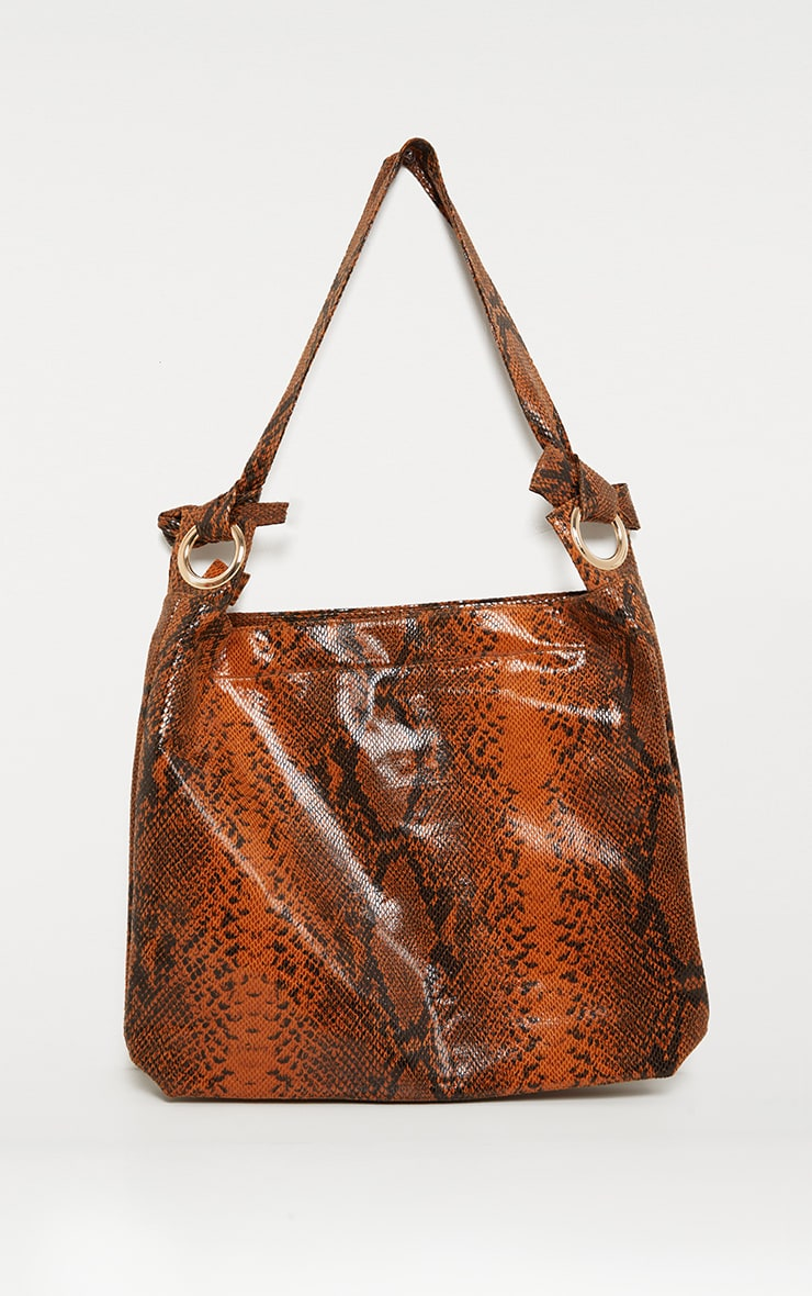 Brown Snake Relaxed Shoulder Bag 3