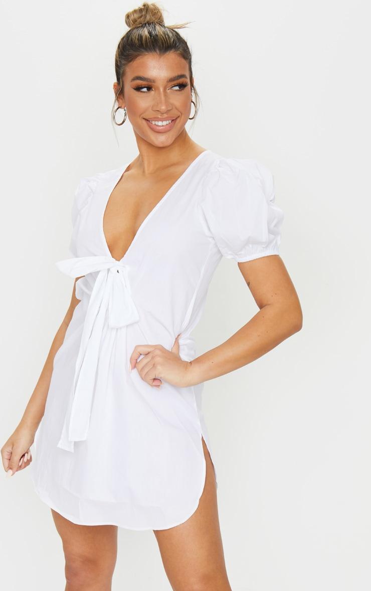 White Knot Front Puff Sleeve Shirt Dress 1