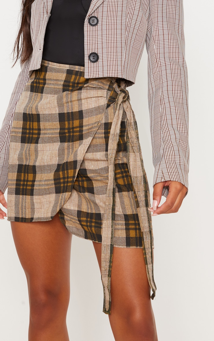 Brown Check Wrap Tie Skirt 6