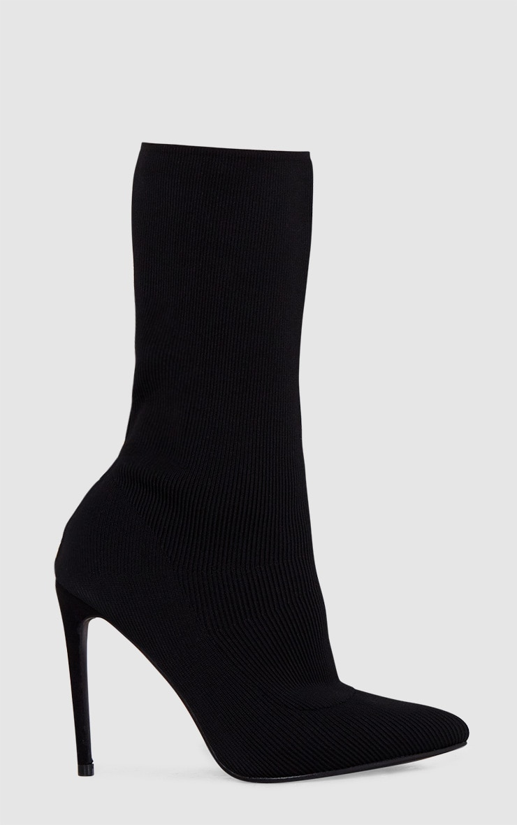 Black Knitted Pointy Sock Boots  3
