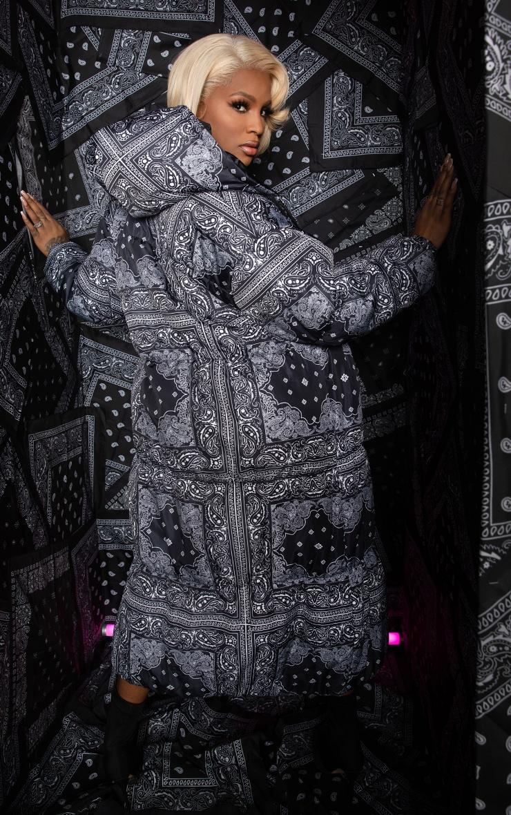 Black Paisley Print Longline Puffer Jacket 5