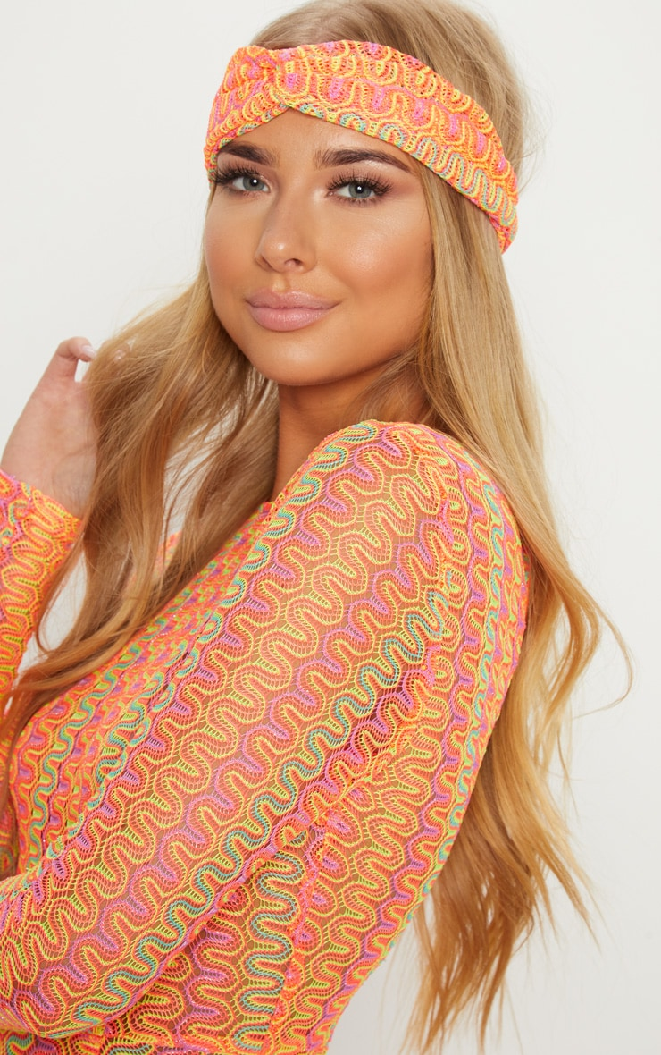 Orange Neon Crochet Headband 2