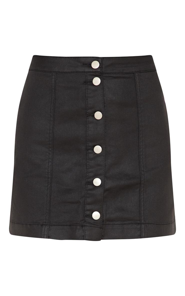 Black Coated Denim Button Down Mini Skirt 3