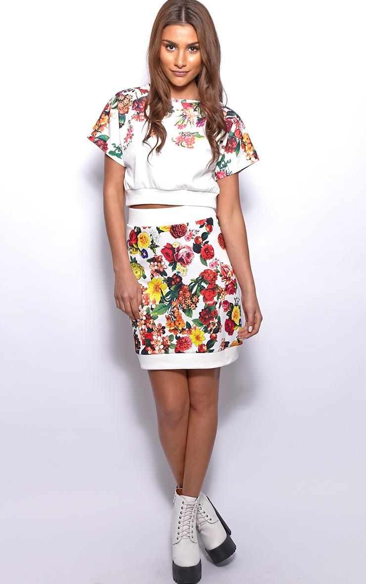 Frankie White Floral Print Silk Skirt 1