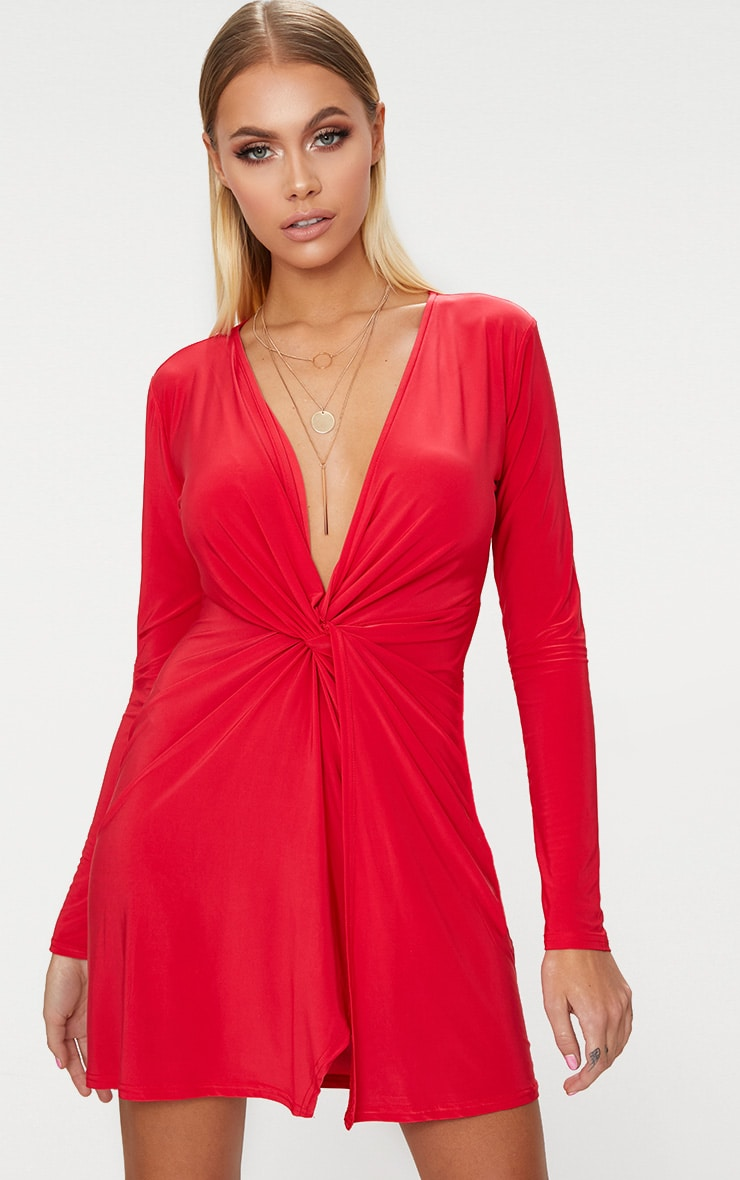 Red Long Sleeve Slinky Wrap Detail Shift Dress 1