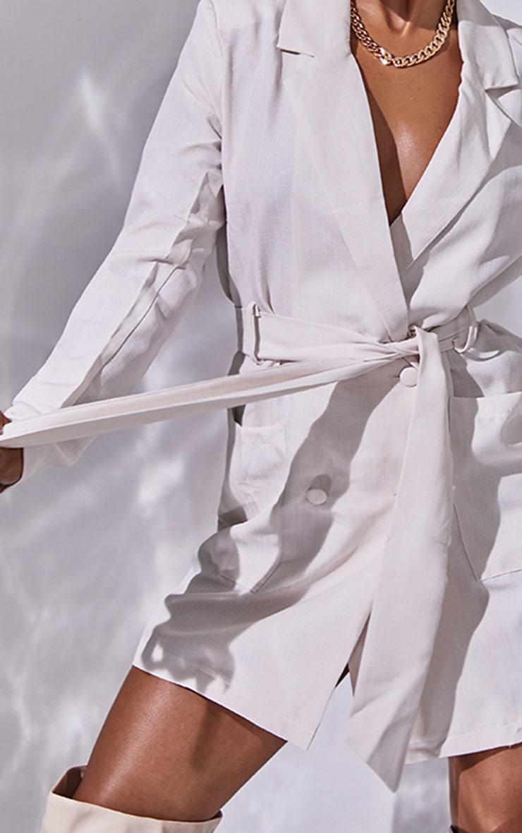 Nude Linen Long Sleeve Tie Waist Blazer Dress 4