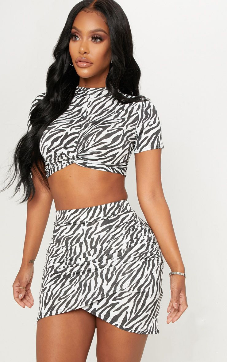 Shape White Zebra Print Ruched Side Split Bodycon Skirt  1