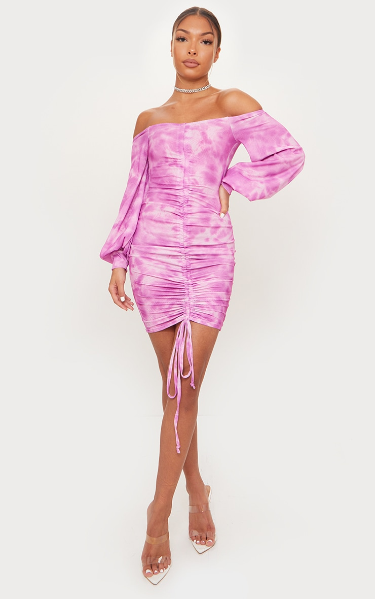 Pink Tie Dye Ribbed Bardot Balloon Sleeve Ruched Bodycon Dress 3