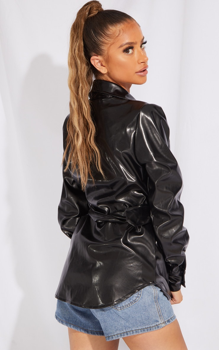 Petite Black PU Buckle Detail Jacket 2
