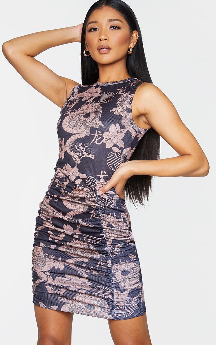 Black Dragon Print Ruched Sleeveless Bodycon Dress 1