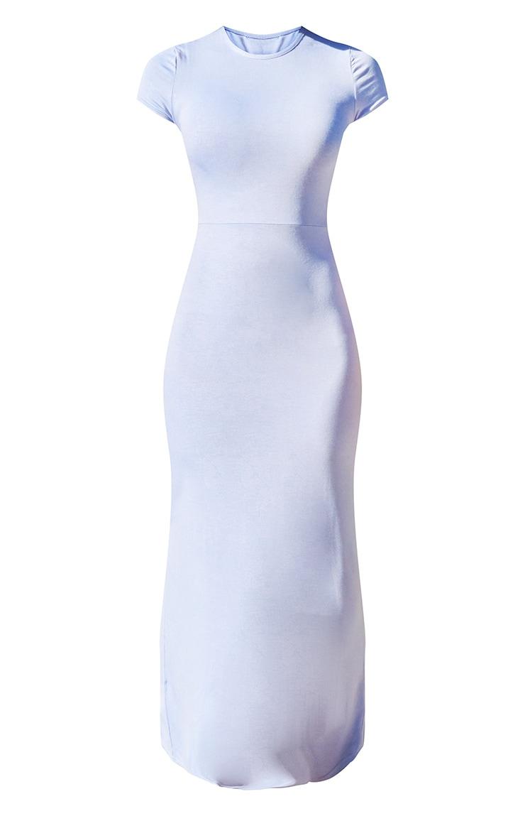 Baby Blue Jersey Short Sleeve Split Maxi Dress 5