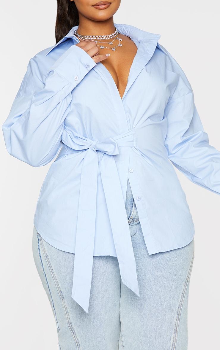 Plus Blue Tie Side Detail Poplin Shirt 4