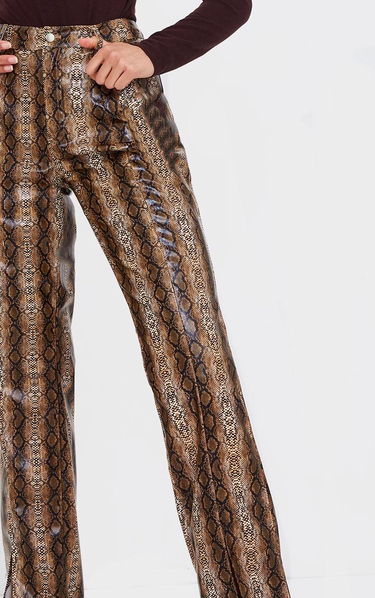 Brown Snake Faux Leather Split Hem Straight Leg Pants 4