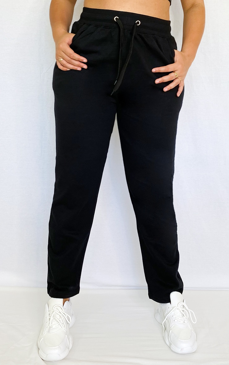 Plus Black Drawstring Waist Joggers 2