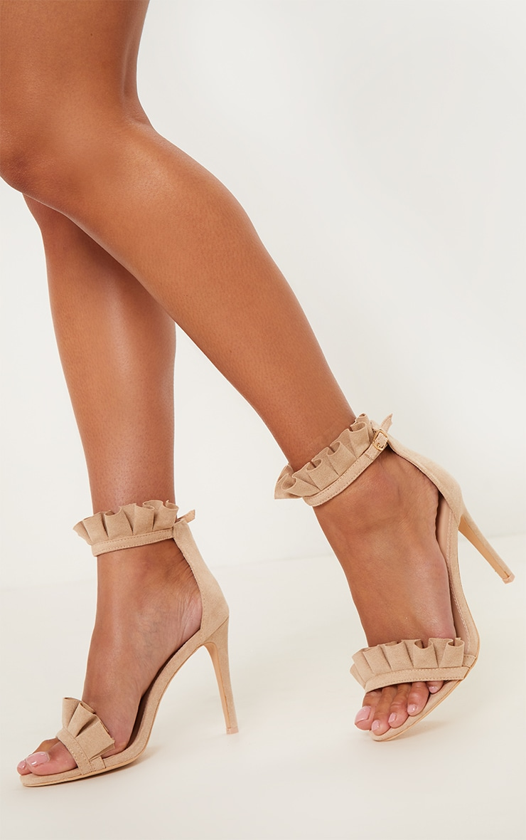 Nude Extreme Frill Strap Heeled Sandal