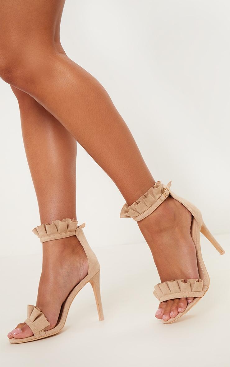 Sandales à talons nude très volantées