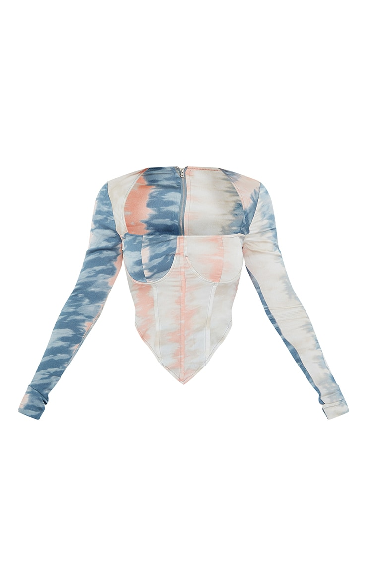 Pink Woven Tie Dye Long Sleeve Bust Detail Corset Crop Top 5