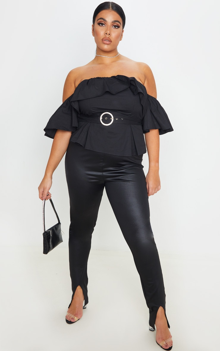 Plus Black Frilled Detail Belted Crop Top 1