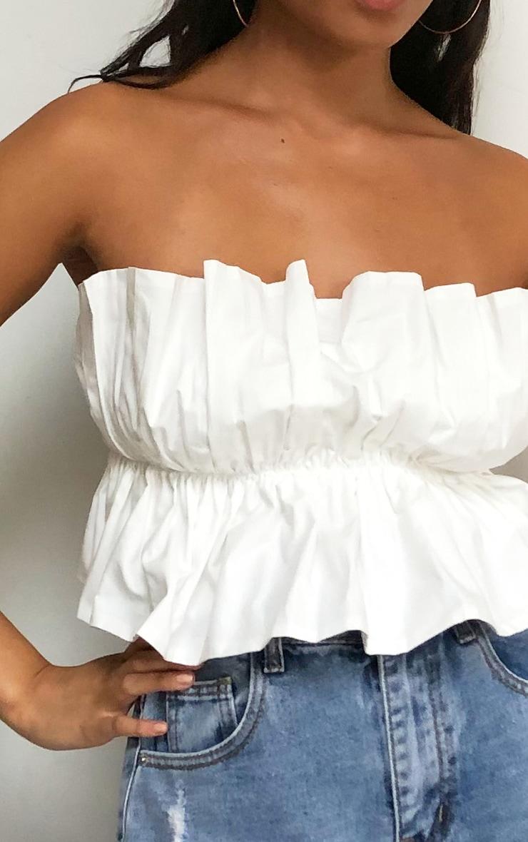 White Cotton Ruffle Bandeau Top 4