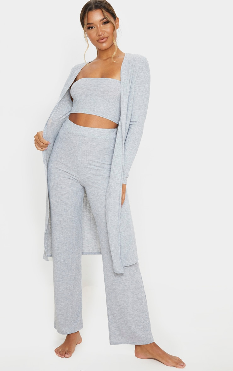 Grey Soft Ribbed Lounge Set 1
