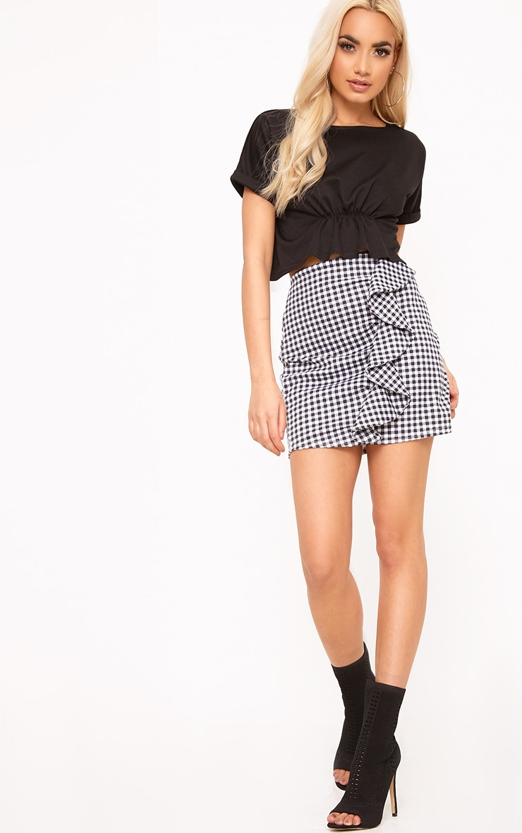 Earlena Black Jersey Ruched Cropped Short Sleeve Top 4