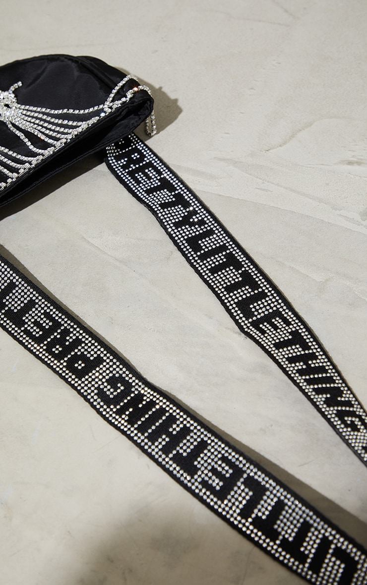 PRETTYLITTLETHING Black Diamante Tassle Cross Body Bag 3