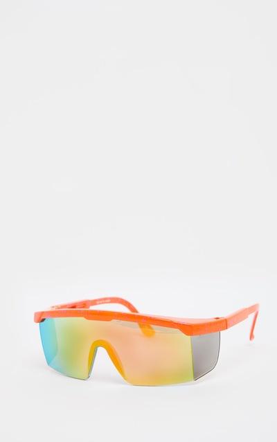 Orange Speckle Side Panel Revo Lens Visor Sunglasses