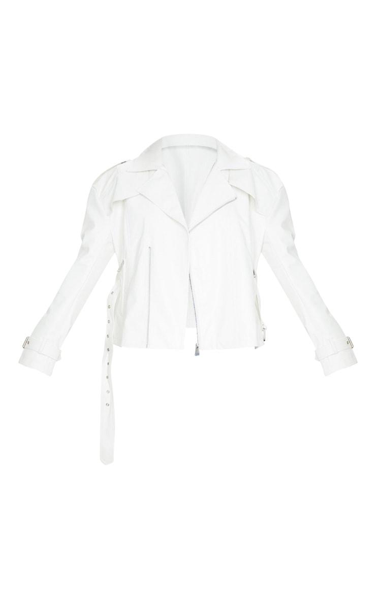 White Faux Leather Tie Waist Biker Jacket 5