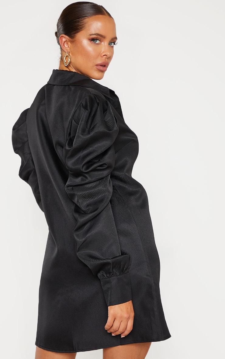 Black Puff Sleeve Shirt Dress 2