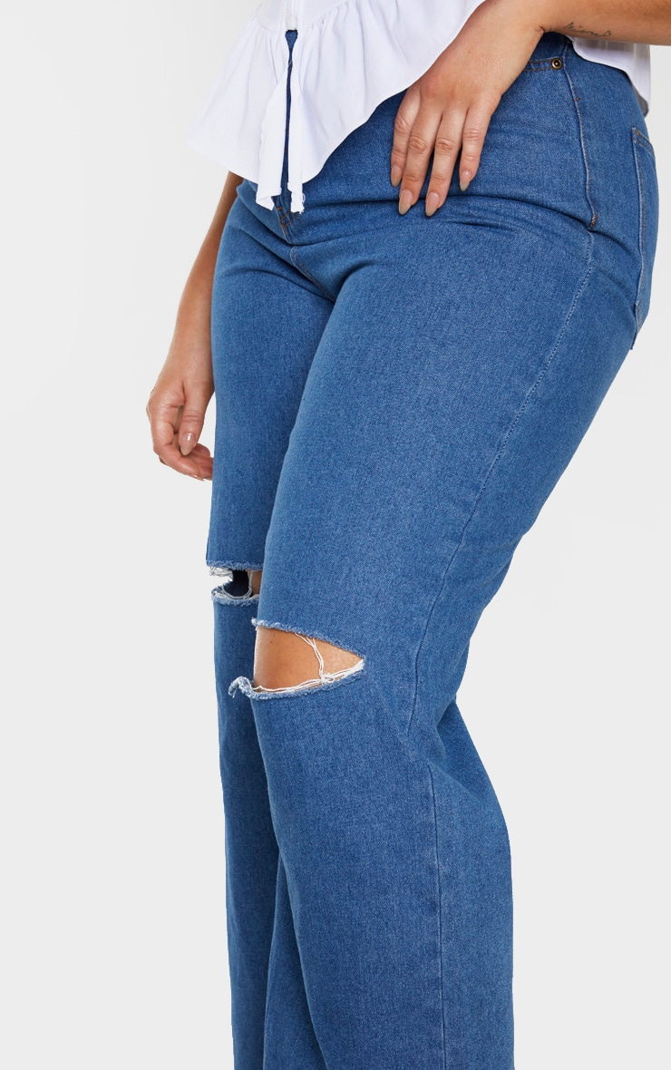 Plus Mid Wash Wide Leg Knee Rip Jean 5