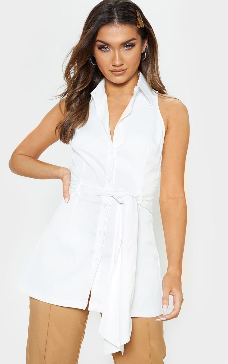 08c62b10ca9429 White Sleeveless Peplum Shirt image 1