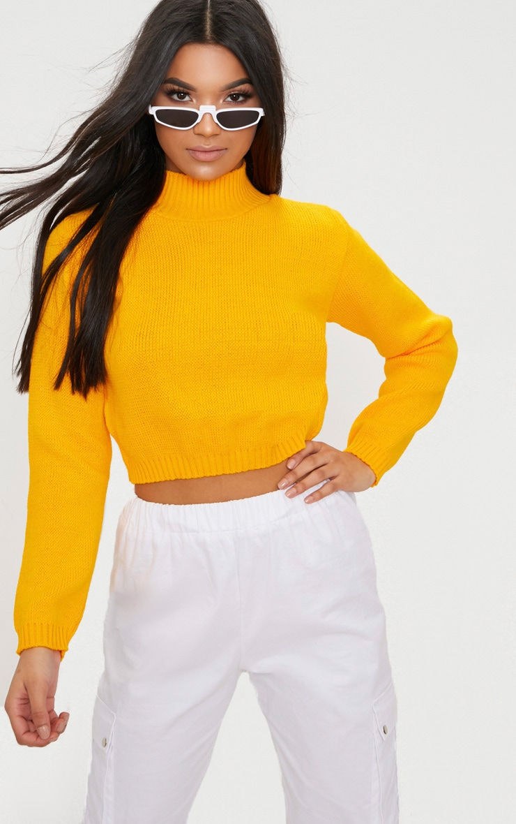 Bright Yellow High Neck Soft Cropped Jumper 1