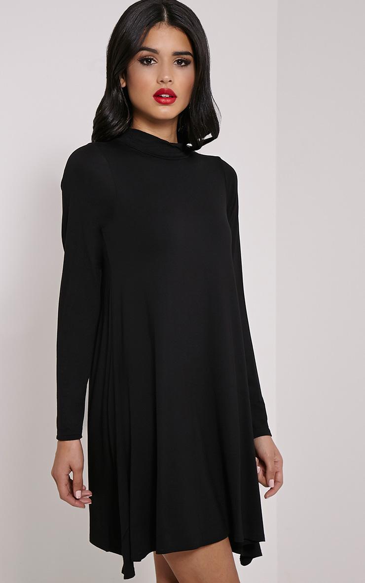 Basic robe trapèze à manches longues en jersey noire 4