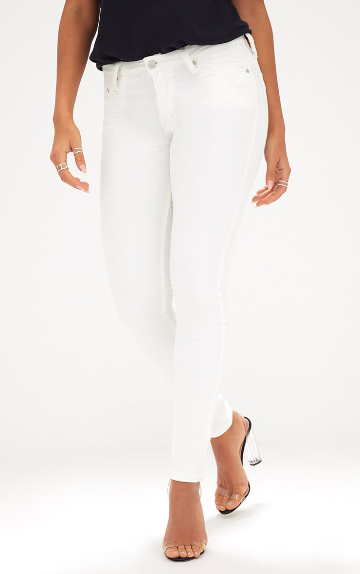 Cream Cord Low Rise Skinny Jeans 2