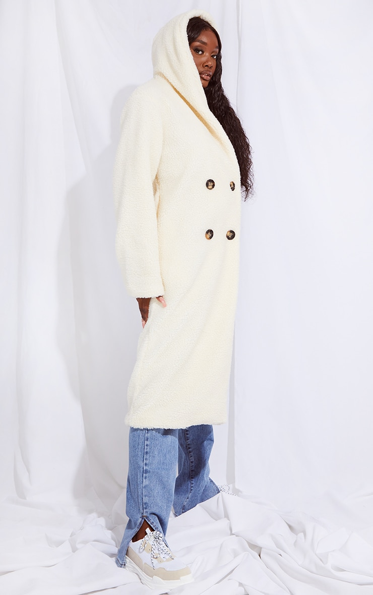 Tall Cream Borg Hooded Midi Coat 3