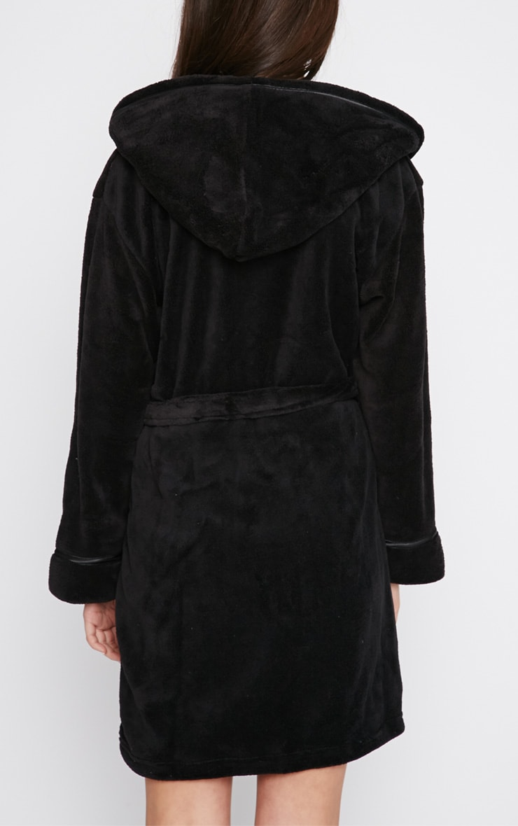 Erin Black Fleece Dressing Gown  2