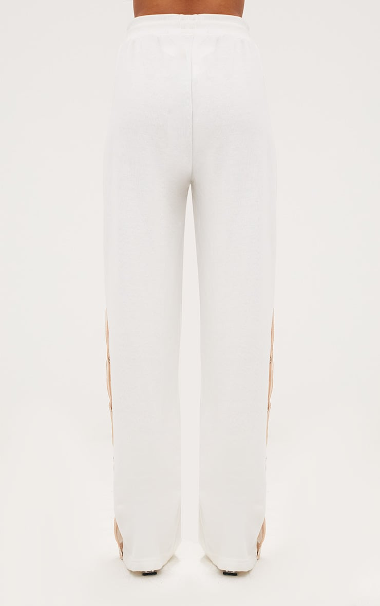 Cream Contrast Stripe Popper Joggers 3
