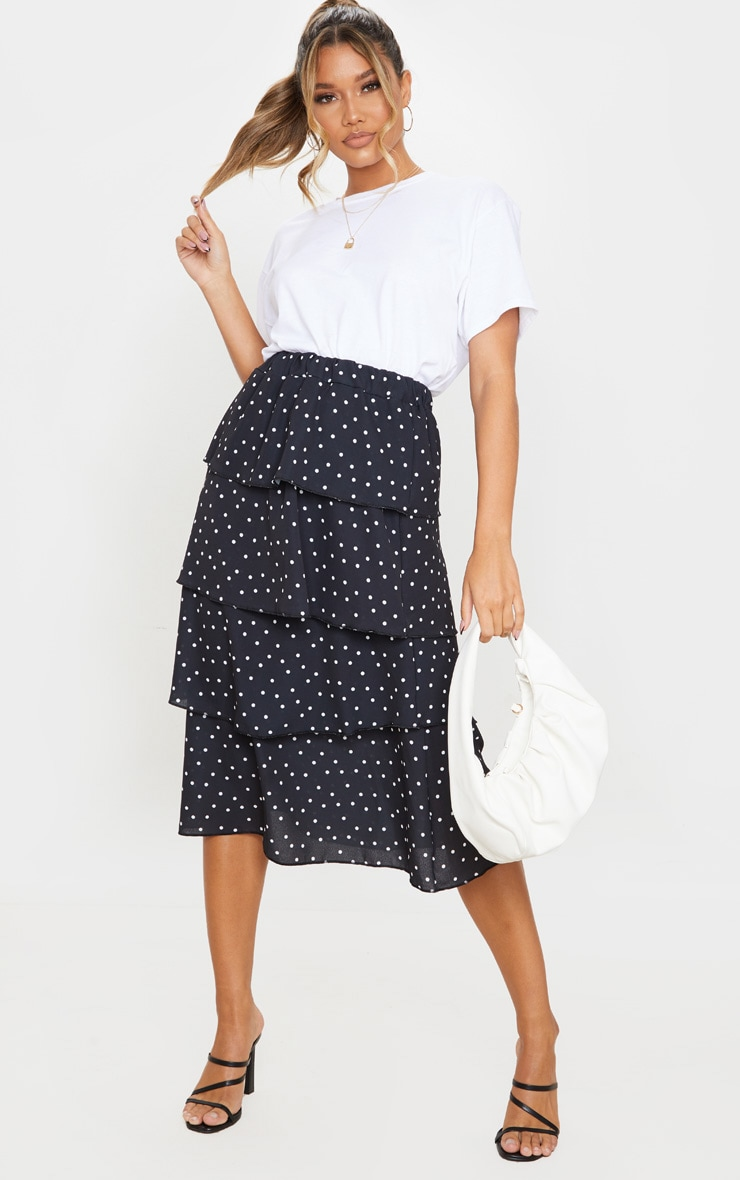 Black Polka Dot Tiered Midi Skirt 1