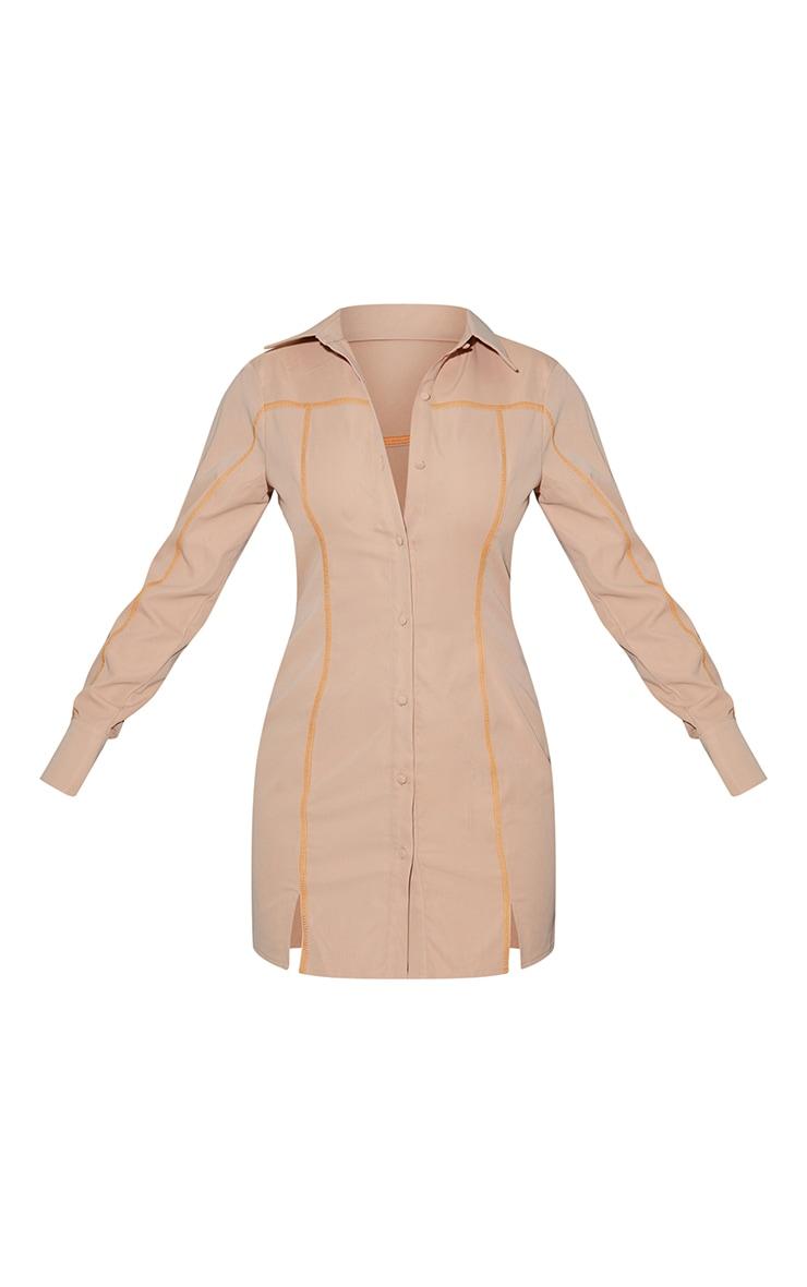 Stone Contrast Stitching Detail Button Up Shirt Dress 5