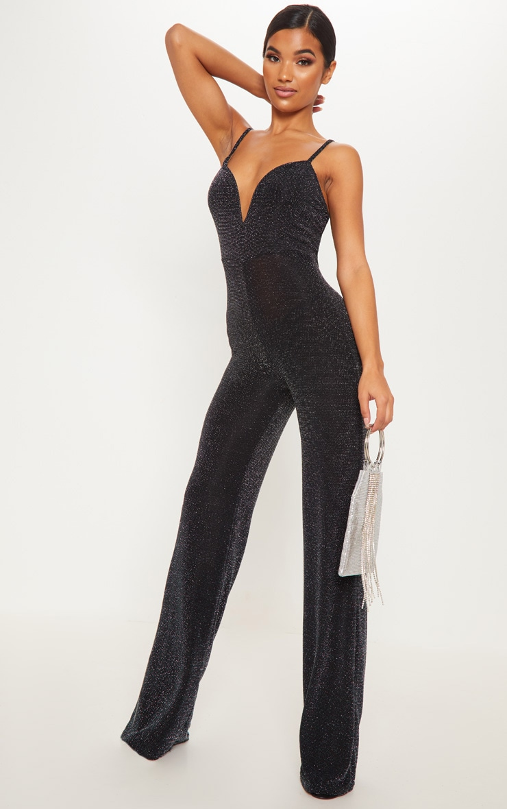 Black Textured Glitter V Bar Bandeau Jumpsuit 4