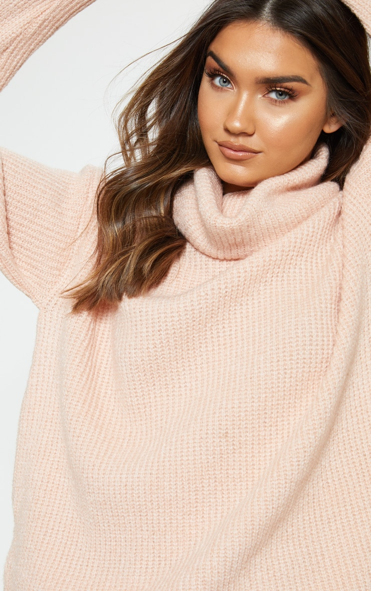 f0a78aa5469daf Peach Laguna High Neck Knitted Jumper | PrettyLittleThing