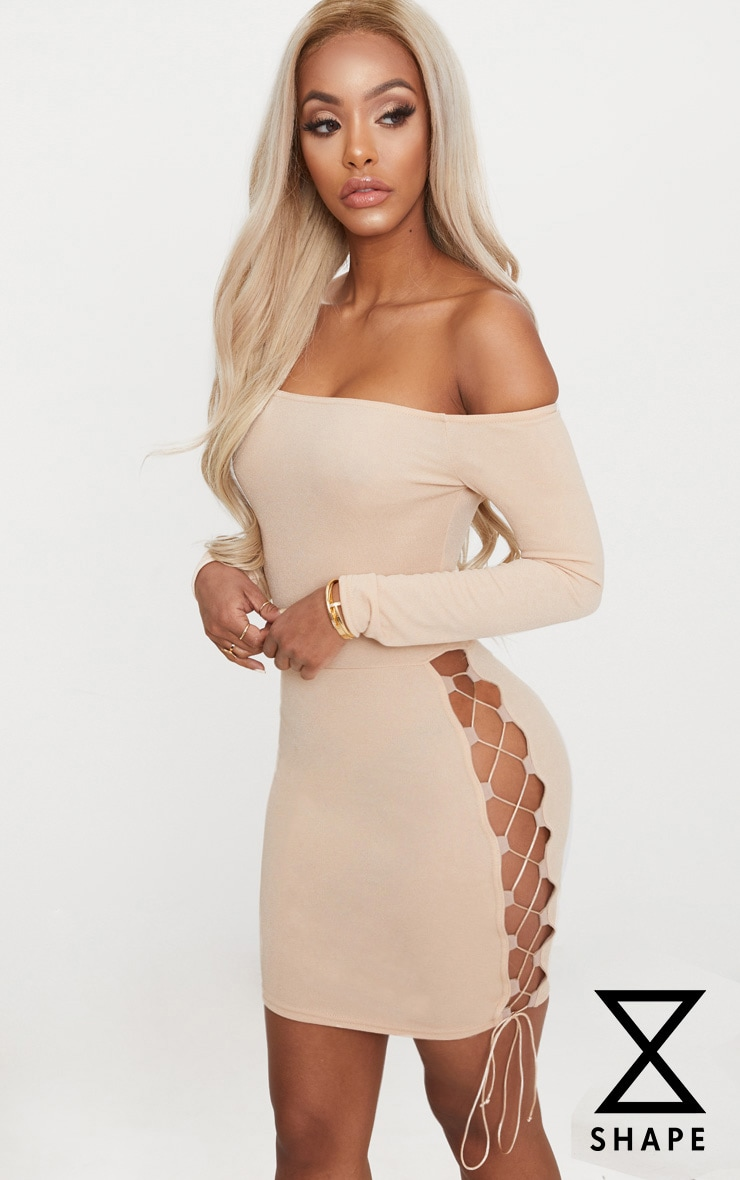 Shape Stone Lace Up Detail Bardot Bodycon Dress