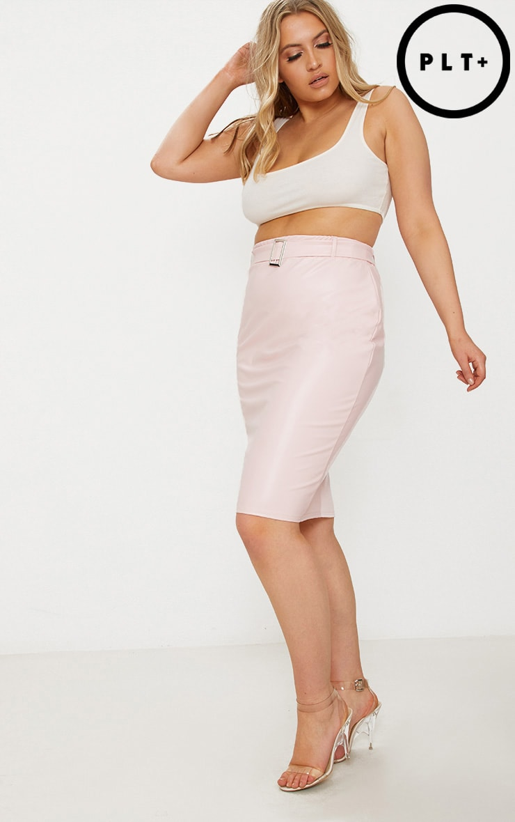 Plus Nude Belt Detail PU Midi Skirt 1