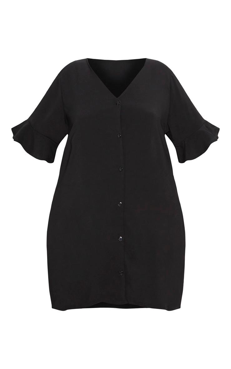 Plus Black Button Through Frill Sleeve Dress 3