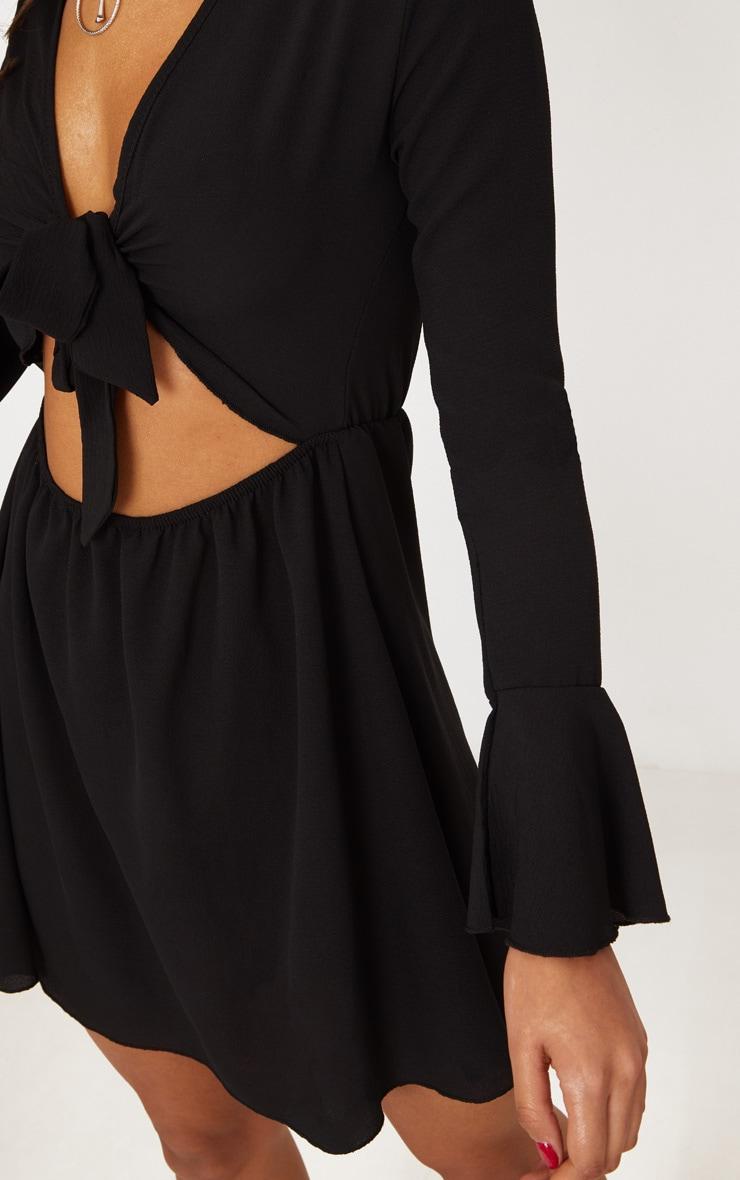 Black Flute Sleeve Tie Front Skater Dress 5