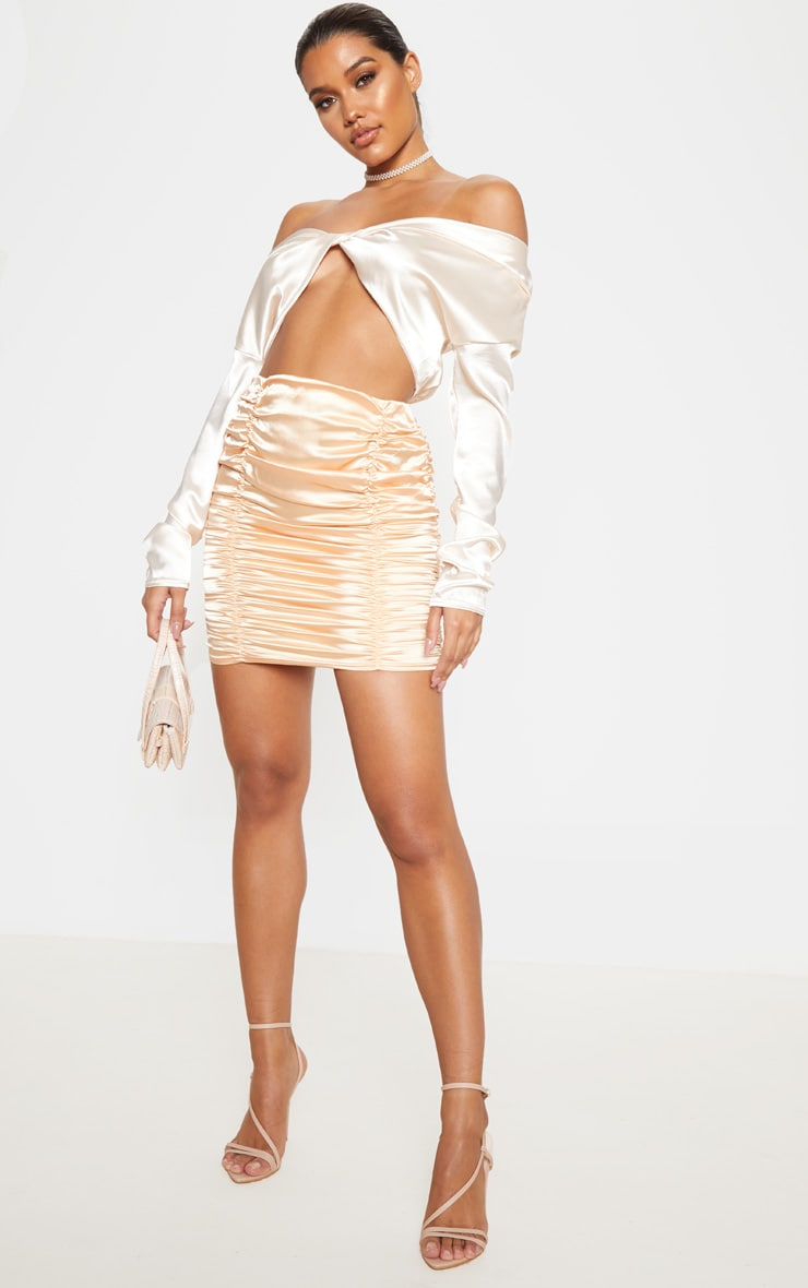 Peach Satin Ruched Detail Mini Skirt  5