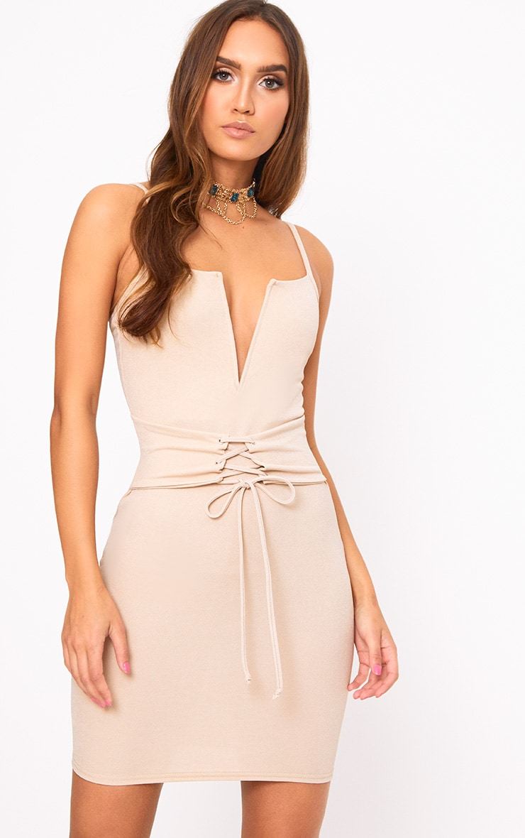 Nude Strappy V Plunge Corset Detail Bodycon Dress 1