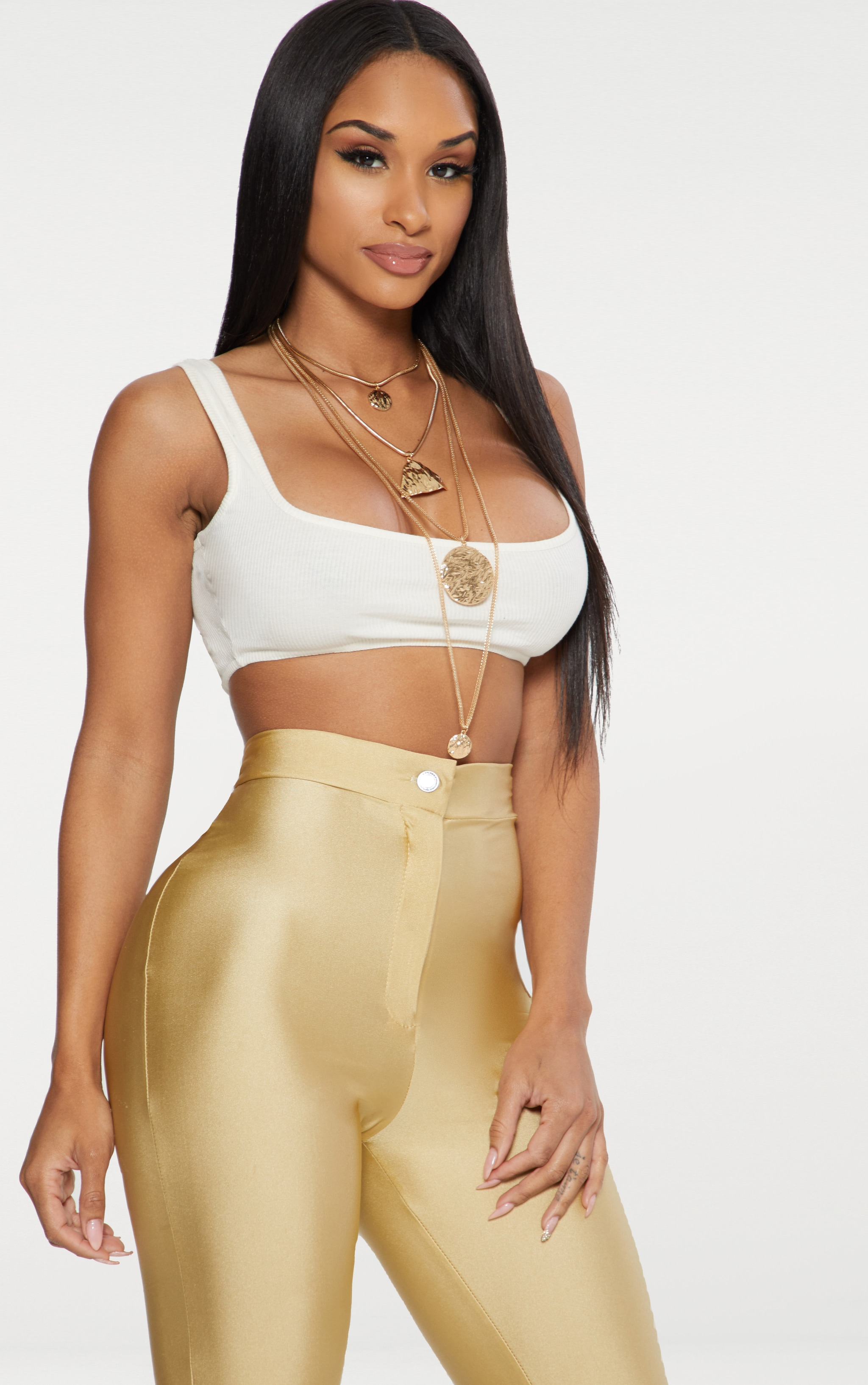 Cream Rib Extreme Scoop Neck Bralet