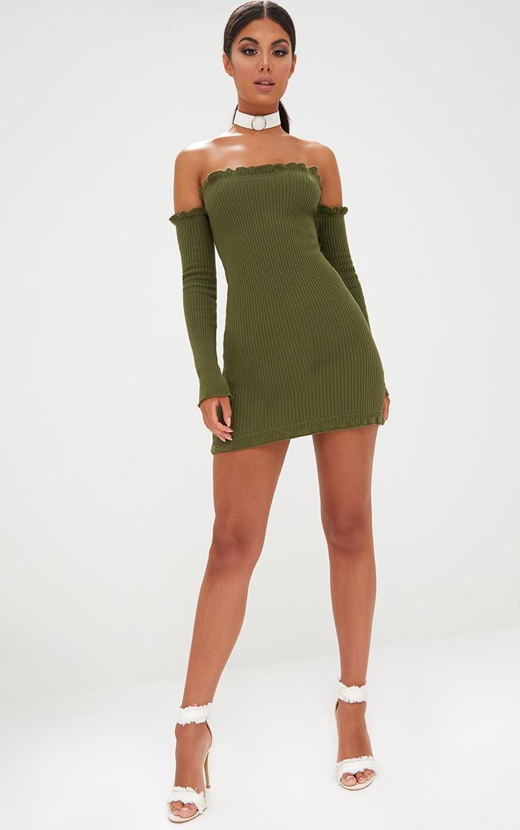 Khaki Ruffle Detail Knit Bardot Long Sleeve Mini Dress 4