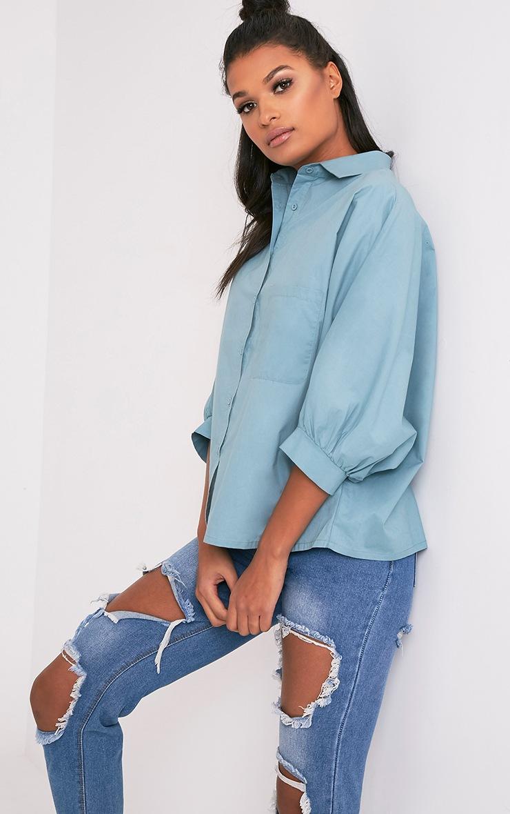 Ariane chemise bleu pétrole à manches chauve-souris 4